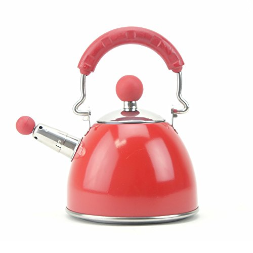 Whistling Tea Kettle, Mini Stainless Steel Teapots Hot Water Kettle (Red)