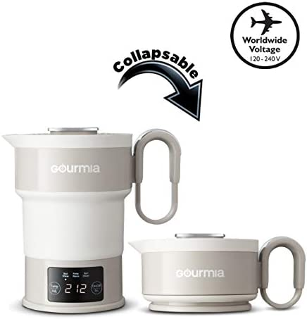 Gourmia GDK368 Digital Electric Collapsible Travel Kettle – Foldable Portable – Dual Voltage – 3 Function- Boils, Keeps Warm Self Cleans – Fast Boil – Water Heater For Coffee, Tea More – Food Grade Silicone – Boil Dry Protection – 20 oz capacity – Grey