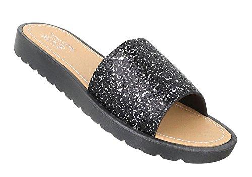 Damen Sandalen Schuhe Strandschuhe Sommerschuhe Pantoletten Schwarz