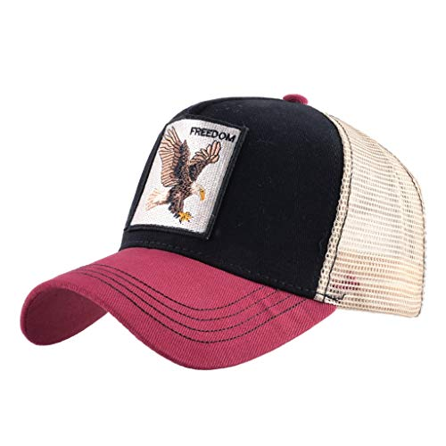 (Unisex Animal Mesh Trucker Hat Strapback Square Patch Baseball Caps (One Size, Red Black Eagle))