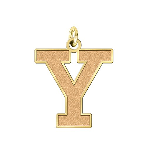 College Jewelry Yale Bulldogs Solid 14K Yellow Gold Natural Finish Cut Out Logo Charm (3/4