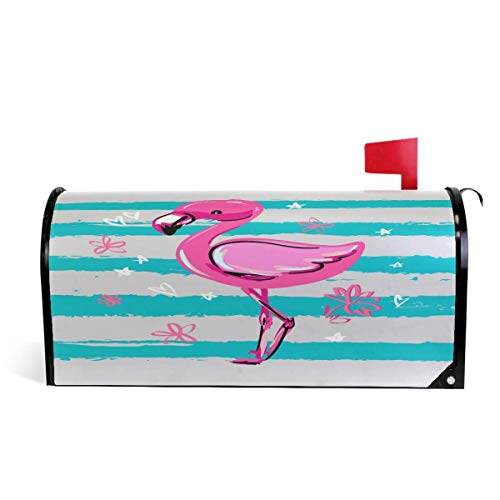 - Ding Goods Hand Drawn Flamingo Stripe Magnetic Mailbox Cover MailWraps, Cartoon Summer Bird Mailbox Wraps Post Box Garden Yard Home Decor for Outside Standard Size 20.8 (L) x 18 (W)
