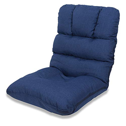 WAYTRIM Indoor Adjustable Floor Chair 5-Position Folding Padded Kids Gaming Sofa Chair, Perfect for Meditation, Reading, TV Watching, Blue (Position 5 Chair Floor)