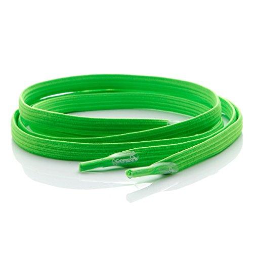 Leazy Flat–Cordones elásticos planos para enganchar–ofrecen un ajuste perfecto y adherentes para niños y adultos Verde - Neongrün