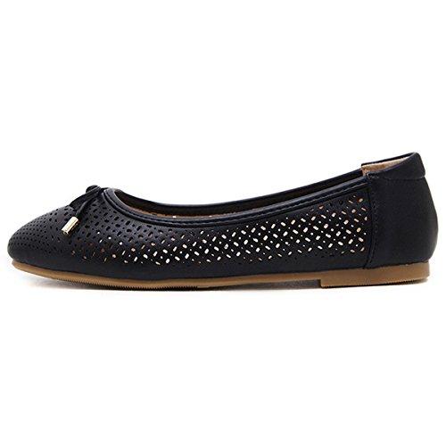 GESIMEI Womens Ballet Shoes Flat Bow Decoration Slip On Casual Comfort Ballerina Pumps Black tRhnw6PF
