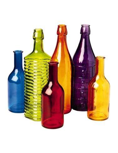 Green Antique Bottle - Colored Bottle Tree Bottles, Set of 6