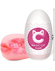 Magic Egg Male Masturbators,Acmeros Portable Pleasure Pocket Pussy with 3D Realistic Textured Sleeve Ultra Soft Stretchy Stroker,Blowjob Egg Toy Male Sex Toys for Men,Flame