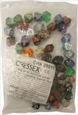 Chessex Manufacturing 29511 Gemini Tens D10 Poly Assorted Dice, Bag - 50 by Chessex
