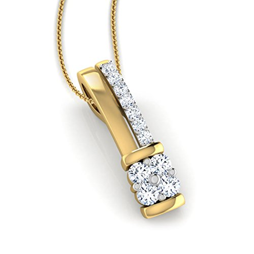 18K Or Blanc 0,23CT TW Round-cut-diamond (IJ   SI) Pendentif