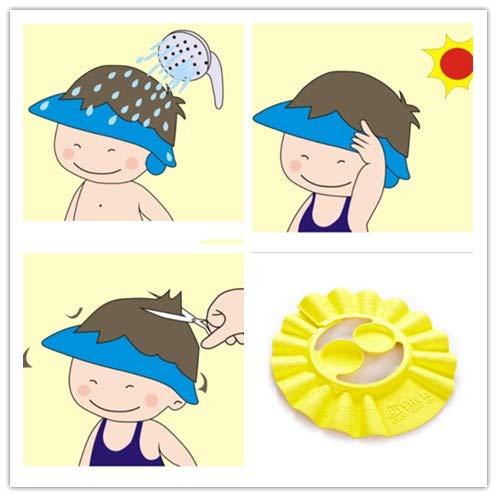 Pack of 3 Baby Shampoo Shower Bathing Protection Bath Soft Hat Soft Adjustable VisorCap for Toddler, Baby, Kids, Children (Yellow, Blue Powder)