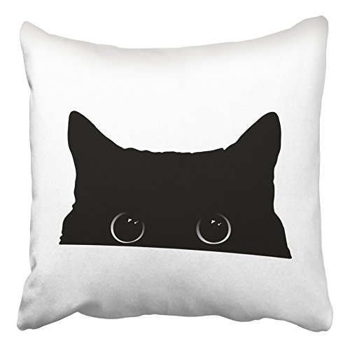 Emvency Throw Pillow Covers 16x16 Inches Decorative Square Cushion White Halloween Cute Black Cat Face with Big Eyes Peeking Silhouette Drawing Two Sides Print Pillowcase for Bed Chair Sofa]()