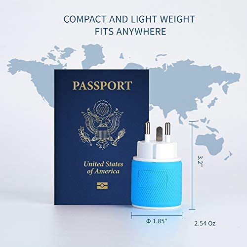 Type N OREI Brazil Travel Plug Adapter Dual USB Surge Protection