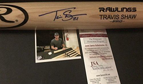 Travis Shaw Milwaukee Brewers Autographed Signed Blonde Baseball Bat JSA WITNESS COA