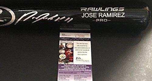 - Jose Ramirez Cleveland Indians Autographed Signed Black Baseball Bat JSA COA