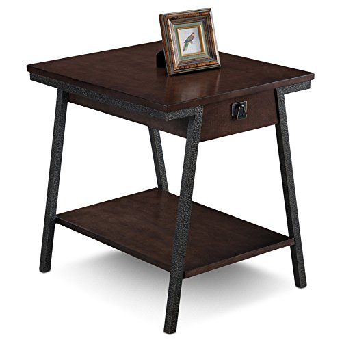 Leick 11407 Empiria Modern Industrial Drawer End Table – Walnut