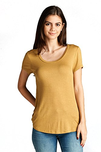 Emmalise Women's Comfy Soft Flowy Tee Shirt Short Sleeves Scoop Neck Tee Top - Mustard Seed, (Mustard T-shirt Tee)