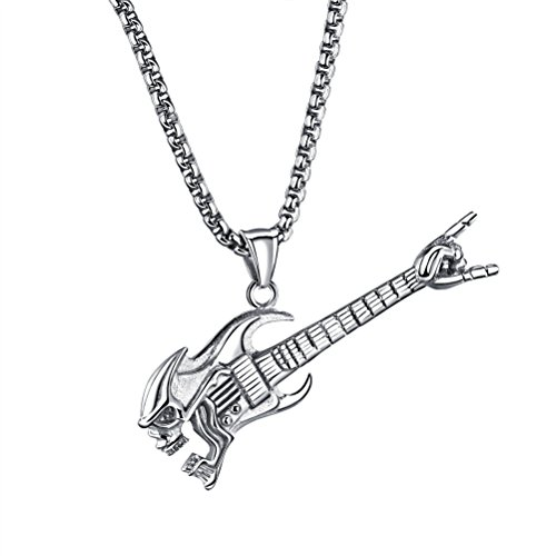 PAMTIER Men's Stainless Steel Silver Punk Rock Skull Electric Guitar Pendant Charm with Chain Necklace (Rock Guitar Charm)