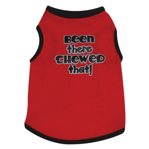 [Casual Canine Cotton Been There Chewed That Print Dog Tee, Medium, 16-Inch, Red] (Casual Canine Sweatshirt)