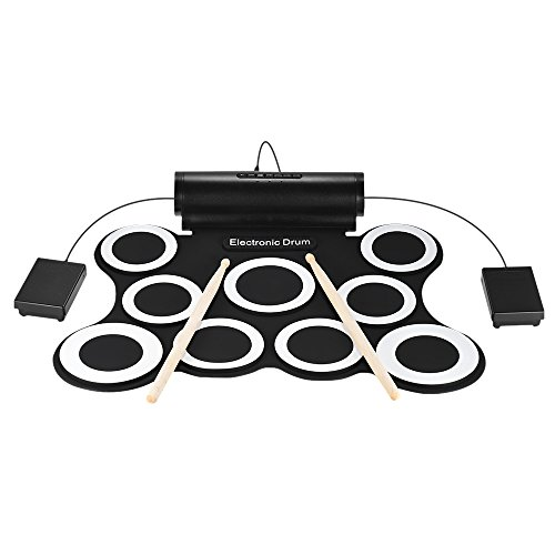 Walmeck Electric Drum Portable Stereo Digital Electronic Roll Up Drum Kit 9 Silicon Drum Pads Built-in Double 3W Speakers USB Powered with Drumsticks Foot Pedals by Walmeck