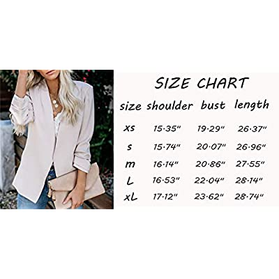 Womens Blazer Casual Ruched 3/4 Cuffed Sleeve Office Work Cardigan Jackets with Pockets at Women's Clothing store