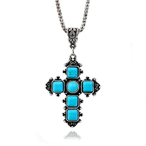 Nick Angelo's Christian Cross Pendant Necklace Elegant Custom Jewelry Created Turquoise Details