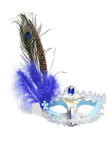JeVenis Royal Mask Venetian Masquerade Masks Mardi Gras Costume with Feather Flowers Halloween Cocktail Party Mask (Silver (Halloween Costume Parties)