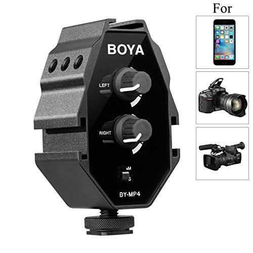 BOYA by MP4 آداپتور صوتی دو کاناله صوتی سازگار با Canon Nikon Sony Panasonic DSLR ، دوربین ، دوربین فیلمبرداری آیفون ، سامسونگ ، هواوی ، تلفن های هوشمند