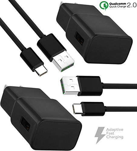 Galaxy S8 Plus Charger! Adaptive Fast Charger Type-C Cable {2 Wall Chargers + 2 Type-C Cables} - by Boxgear Compatible with Samsung Products