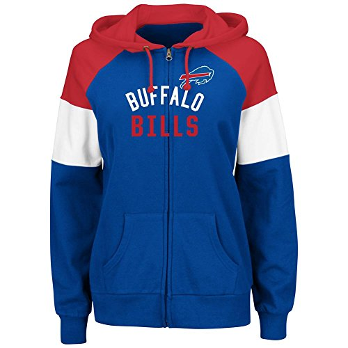Majestic Buffalo Bills Women's Hot Route Blue Zip Up Hooded Sweatshirt Medium
