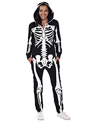 Women's Skeleton Halloween Costume - Skeleton Jumpsuit Onesie