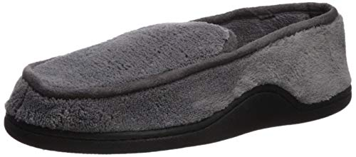 Isotoner Men's Microterry Slip On Slippers, Charcoal, Large / 9.5-10.5 US