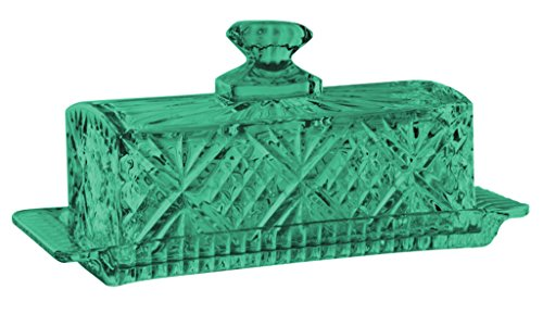 Godinger Dublin Covered Butter Dish Crystal Glass - Full Color Aqua - Additional Vibrant Colors Available by TableTop King