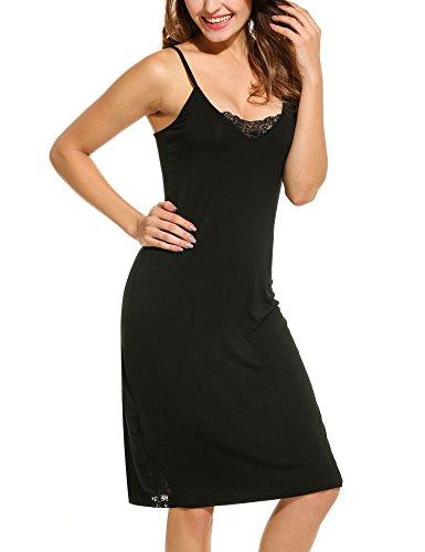 Hotouch Slips Womens Slip Long Spaghetti Strap Full Cami Slip Camisole Under Slips for Dresses Black-S