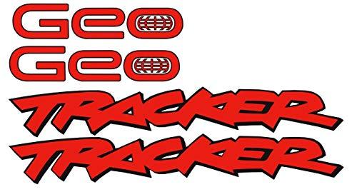(GEO Tracker Fender Quarter Panel Body Decals Sticker New 4PC Compatible for Black 3M Vinyl (Red Matte))
