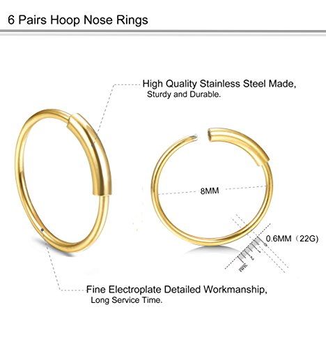 FUNRUN JEWELRY 6Pairs Stainless Steel Hoop Nose Rings Set for Women Men Eyebrow Tragus Lip Ear Ring BCR Body Piercing 22G 8MM Photo #2
