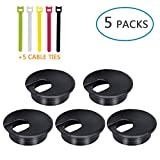 DMSL Desk Grommets 2 Inch 5 Pack Plastic Wire Organizers Computer Cable Hole Cover Plug Bushings to Hide Cords & Cables Through Office Desk, TV Stands, Tabletops with 5 Fastening Cable Ties (Black)