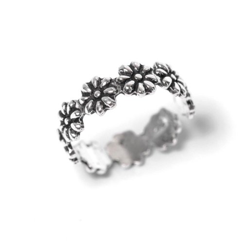81stgeneration Women's .925 Sterling Silver Flower Midi Finger Adjustable Toe (Engraved Toe Ring)