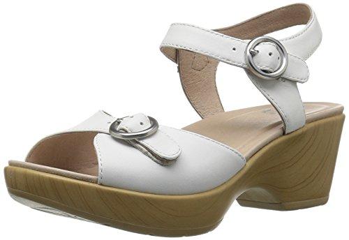 Dansko Women's June Flat Sandal, White Full Grain, 38 EU/7.5-8 M US