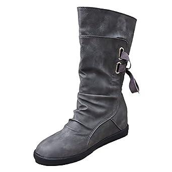 Sunnyuk Botas de Mujer, Zapatos de Mujer Botas de Piel de Becerro de Invierno Botas de cuña de Fondo Plano Botas Zapatos de Hebilla: Amazon.es: Ropa y ...