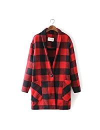 Women's Winter Wool Blend Plaid Long Coat Outwear Jacket Vintage