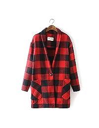 Women's Winter Wool Blend Plaid Long Coat Outwear Jacket Vintage