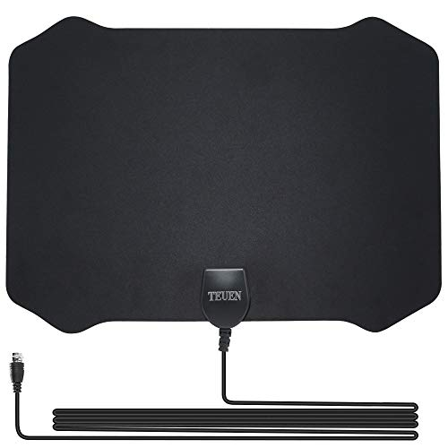 TV Antenna Indoor, 60 Miles Range Amplified Antenna TV Digital HD with Detachable Amplifier Signal Booster HDTV Antennas for TV 4K 1080P High Reception 13.2FT Coax Cable for Digital Freeview (black)