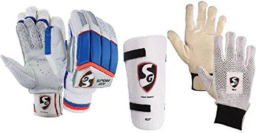 SGコンボの3つの、1つのペアRSD ' PROLITE ' (軽量)バッティング手袋、One 'テスト'エルボガードと1つのペア'テスト' Inner Gloves (メンズ)クリケットキット B077KG8PHL