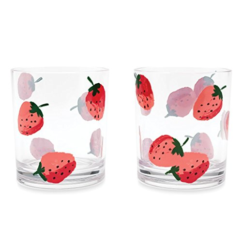 Kate Spade New York Womens Strawberries Drinkware, Red/Green/Clear, One Size