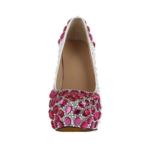 Schuhe High Lacitena Schuhe Rot Rose Damen Weiß Heel Kristall rXaIHwqxa