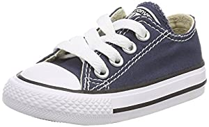 Converse Chuck Taylor All Star Canvas Low Top Sneaker, Navy, 11 M US Little Kid