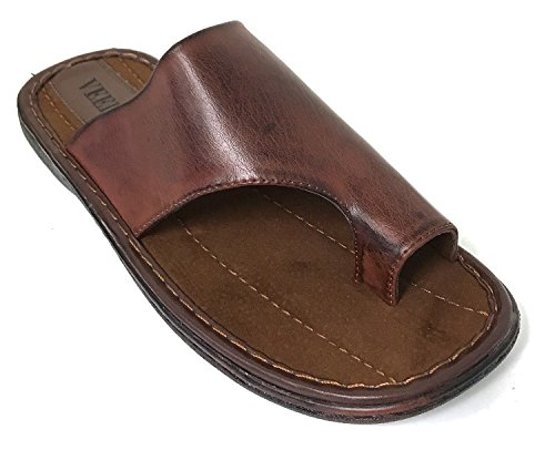 G4U-Veeko FLM-5 Men's Sandals Thong Comfortable Toe Slide Casual Flip Flops Slip On Slippers (10 D(M) US, Brown-M5)