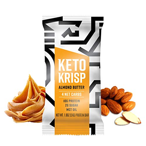 Keto Krisp High Protein Snack Bar   Gluten Free, Low Carb & Sugar   Ketogenic Diet Friendly Snacks   MCT Oil, Coconut & Nut Butter, Almonds & Healthy Fat   12 Count (Almond Butter)