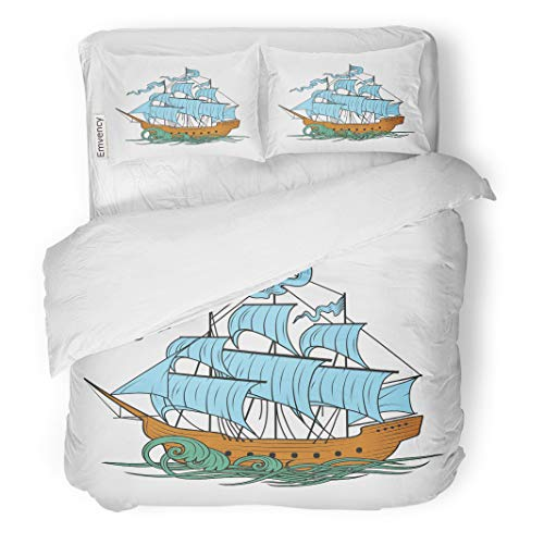 Semtomn Decor Duvet Cover Set Twin Size Sail Sailing Ship Boat Cutty Sark Old Pirate Water 3 Piece Brushed Microfiber Fabric Print Bedding Set Cover