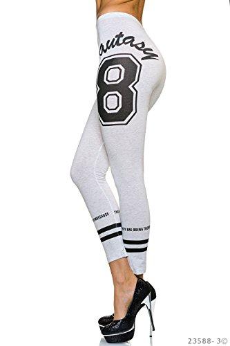WeaModa - Leggings - para mujer gris claro